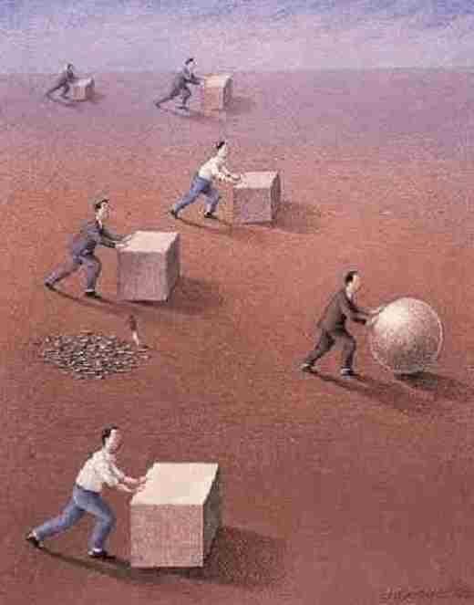 Những người đẩy hình vuông không đi nhanh bằng những người đẩy hình tròn, nhưng đến lúc xuống dốc, họ lại không phải lo bị trượt ngã.