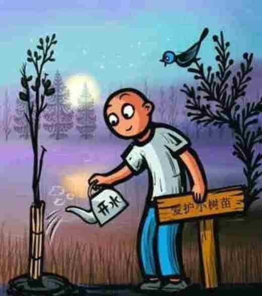 """Kẻ đáng sợ không phải là kẻ xấu thực sự, mà là người tốt giả tạo (Chú thích ảnh: Người đó cầm bảng là """"Bảo vệ cây cối"""", nhưng lại dùng nước sôi để phá cây)"""