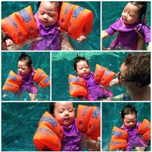 Con gái Đoan Trang sở hữu nét đẹp lai cực dễ thương với đôi mắt to tròn, thông minh.