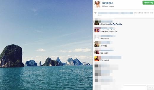 Beyonce đăng tải hình ảnh chụp Vịnh Hạ Long lên trang cá nhân.