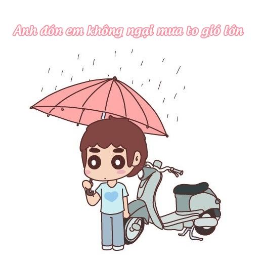 Bất chấp thời tiết, anh luôn là 'xe ôm' đưa đón em đi học.