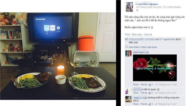 """Anh chàng làm bữa tối cho vợ, Samđăng tải bức hình cùng dòng trạng thái: """"Tối nào cũng nấu cho vợ ăn. Ăn xong bao giờ cũng nói một câu: 'Anh xin lỗi vì đồ ăn không ngon lắm'.Muốn nghe khen mà xin lỗi..."""".(Ảnh: NVCC)"""