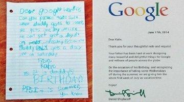 Cô bé can đảm gửi thư đến Google để xin nghỉ phép cho bố của mình