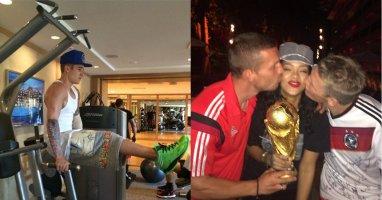 [Mlog Sao] Justin Bieber mạnh mẽ trong phòng tập, Rihanna ăn mừng chiến thắng cùng tuyển Đức