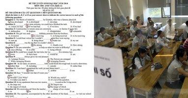 Đề thi và gợi ý đáp án kỳ thi Đại học 2014 môn Hóa và Anh văn khối A, A1
