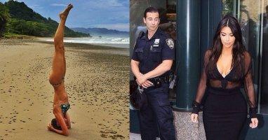 [Mlog Sao] Gisele tập Yoga trên bãi biển, Kim Kardashian gợi cảm xuống phố