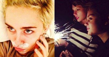 """[Mlog Sao] Miley Cyrus làm mặt dễ thương, Taylor Swift bị """"hút hồn"""" bởi pháo hoa"""