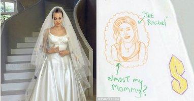 Jennifer Aniston xuất hiện trên váy cưới của Angelina Jolie