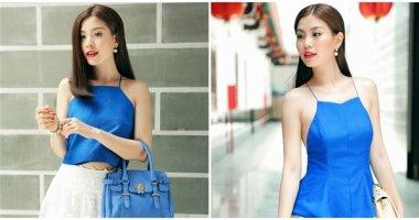 Á hậu Diễm Trang rạng ngời dạo phố với sắc xanh cobant