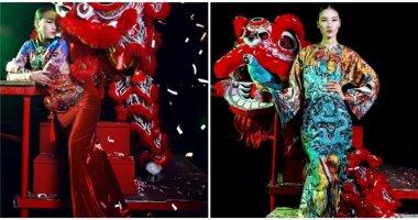Trang Khiếu lạ lẫm với trang phục họa tiết rồng phượng