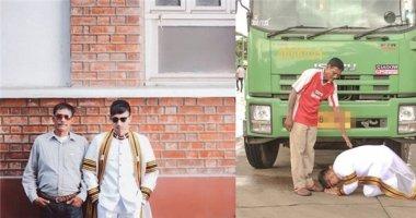 Cử nhân Thái Lan quỳ gối cảm ơn trước xe rác của cha