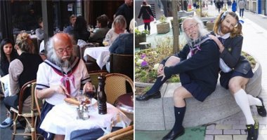 Choáng với hình ảnh cụ ông mặc quần áo thủy thủ mặt trăng đi khắp phố