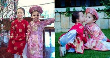 Cặp song sinh nhà Hồng Nhung cực đáng yêu với áo dài Tết