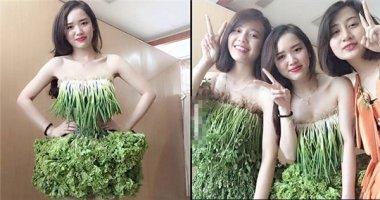 """3 cô gái trong trang phục """"rau sạch"""" khiến cư dân mạng thích thú"""