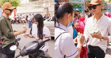 """Soobin Hoàng Sơn """"đội nắng"""" phát hơn 5000 chai nước cho sĩ tử"""