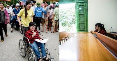 Cô gái xương thủy tinh dùng xe lăn đi thi Đại học