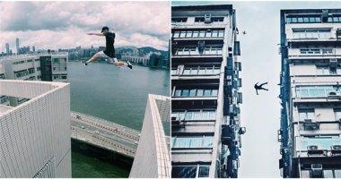 """Thót tim với nhóm thanh niên """"bay như chim"""" từ sân thượng nhà cao tầng"""