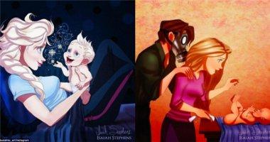 Sẽ ra sao nếu các nàng công chúa Disney làm mẹ?