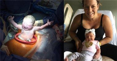 Ấn tượng hiếm thấy hình ảnh bé sơ sinh dang tay chào thế giới