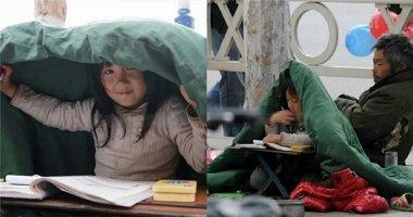 Xót xa cảnh cô bé nghèo co ro trong chăn ngồi học bài bên vệ đường