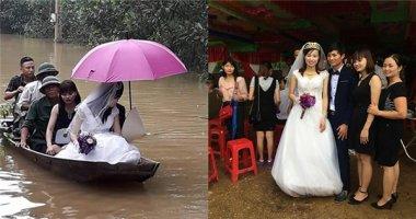 Xúc động cảnh rước dâu ngay thời điểm nước lũ dâng cao ở Hà Tĩnh
