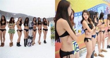 Phản cảm hình ảnh người mẫu mặc bikini đứng giữa khu trượt tuyết