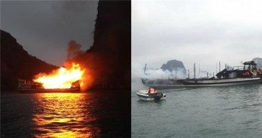 Tàu du lịch chở 21 người bất ngờ bốc cháy dữ dội trên vịnh Hạ Long