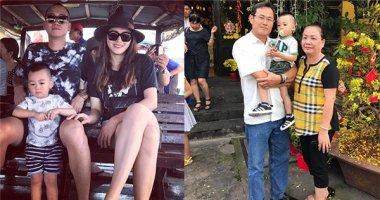 Vợ chồng Ngọc Thạch đưa con trai đi biển chơi Tết cùng ông bà ngoại