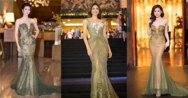 """Đặt lên """"bàn cân"""" khi mỹ nhân Việt chuộng váy màu xanh rêu"""
