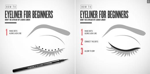 Nếu dùng eyeliner dạng lỏng thì hãy bắt đầu bằng những chấm nhỏ, sau đó nối chúng lại. (Ảnh: Internet)