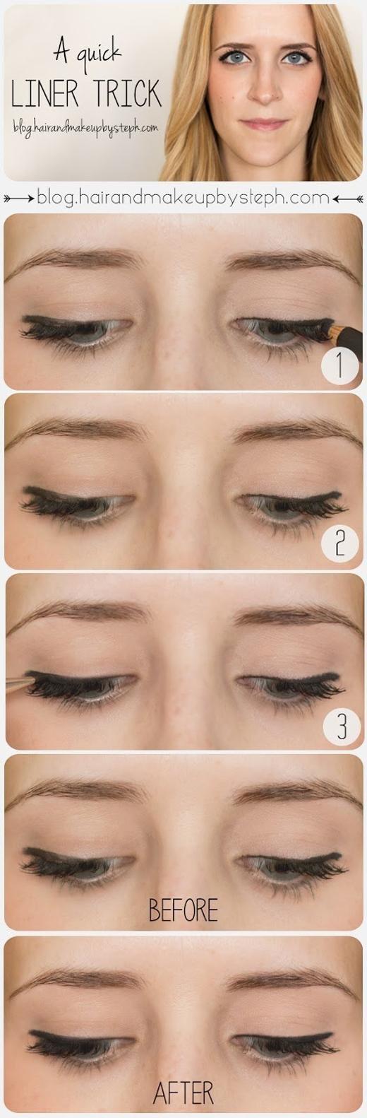 Dùng một chút phấn mắt màu đen để che bớt đường eyeliner chưa chuẩn.(Ảnh: Internet)