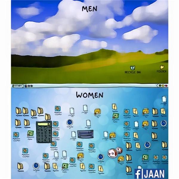 Đàn ông: đơn giản, gọn nhẹ, cái gì cần mới để. Còn với phụ nữ, phải tràn lan đủ thứ mới chịu.(Ảnh: Internet)