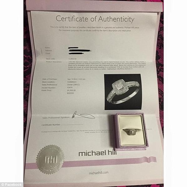 Giấy tờ chứng minh chiếc nhẫn cưới mà cô gái bán để lấy tiền đi Ý du lịch một mình. Ảnh: Internet