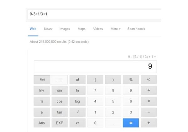 Đáp án do Google đưa ra. Ảnh chụp màn hình.