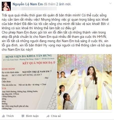 Tuy nhiên, song song đó Nam Em còn tham gia chương trình Tình Bolero - điều này khiến sức khỏe của cô phần nào bị giảm sút. Quyết định dừng chân ở Hoa hậu Việt Nam là điều vô cùngkhó khăn đối với người đẹp miền Tây.