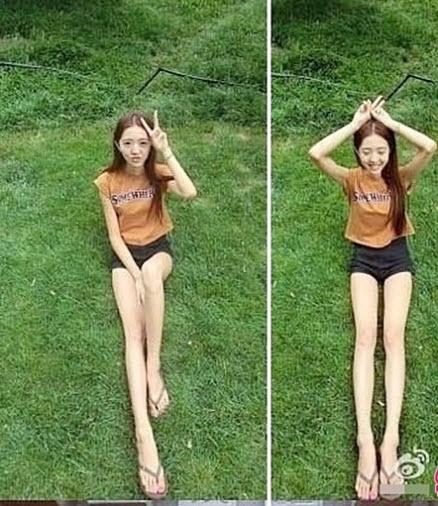 Tuy chân dài bất thường là thế nhưng anh bạn trai chưa bao giờ thôi tự hào về cô nàng.(Ảnh: Internet)