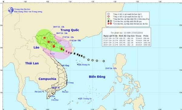 Đường đi của cơn bão số 1 đổ thẳng vào nước ta. (Ảnh:Trung tâm Dự báo Khí tượng Thuỷ văn Trung ương)