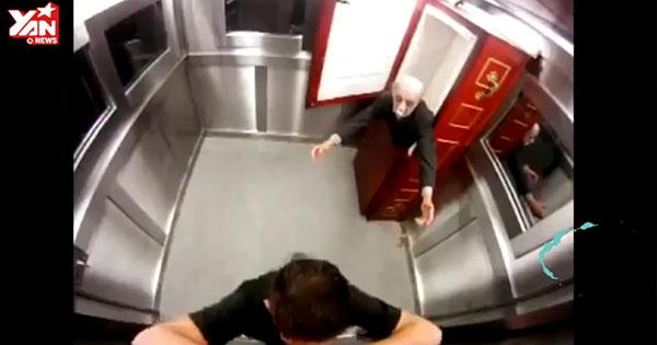 Kinh hoàng chơi khăm để quan tài trong thang máy