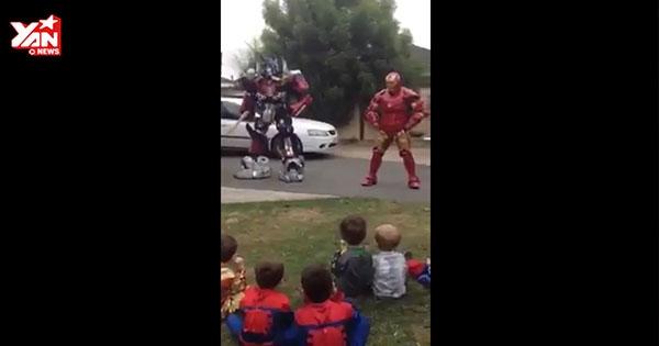 Hài hước với clip Iron Man và Transformers mừng sinh nhật... trẻ em