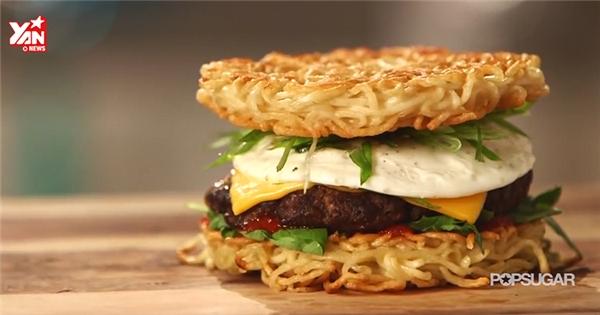 Lạ mắt với Hamburger ... làm bằng mì gói ramen