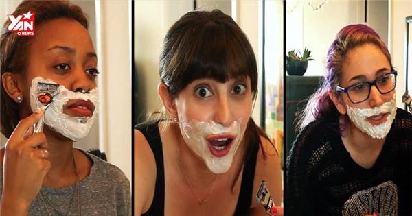 Thử cảm giác phụ nữ lần đầu cạo râu theo phong cách nam giới