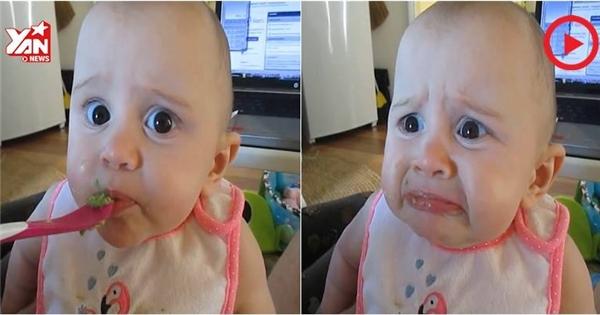 """Em bé """"hốt hoảng"""" khi lần đầu tiên được ăn bơ"""