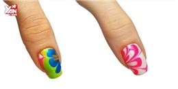 Tự sơn móng tay với hoa văn màu nước độc đáo