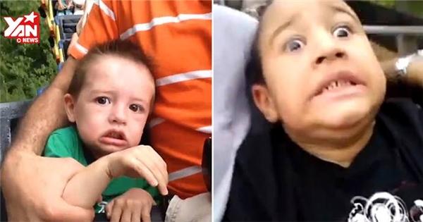 """Biểu cảm """"khó đỡ"""" của các bé khi lần đầu đi tàu lượn"""