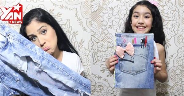 Tái chế quần jeans thành bìa sổ tay tiện dụng