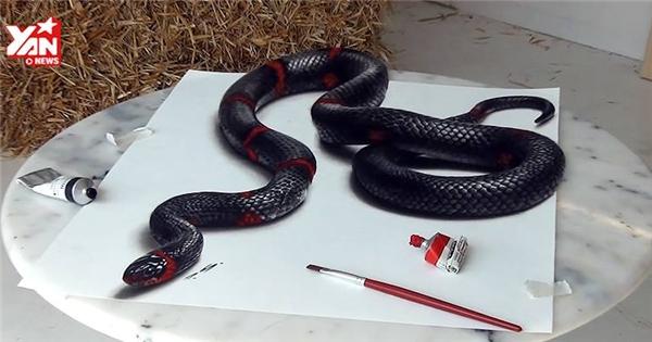Tranh vẽ rắn khiến người xem hết hồn vì quá thật
