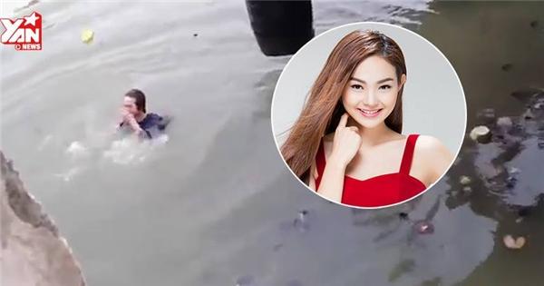 Minh Hằng ngã nhào xuống sông đầy rác khi đóng phim