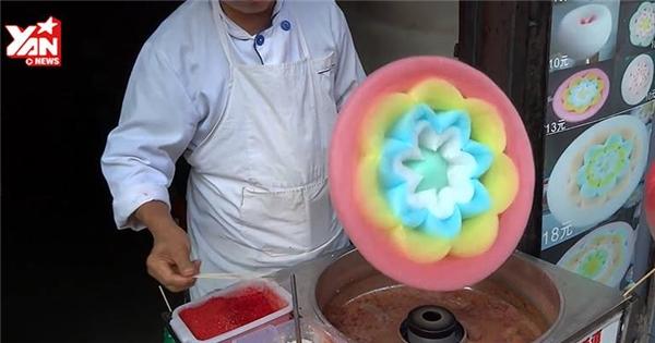 Ngỡ ngàng với kẹo bông gòn hình hoa ngũ sắc cực hấp dẫn