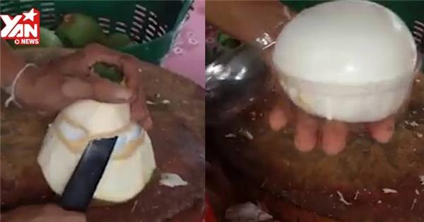 Tròn mắt với kĩ thuật gọt dừa đẹp xuất sắc