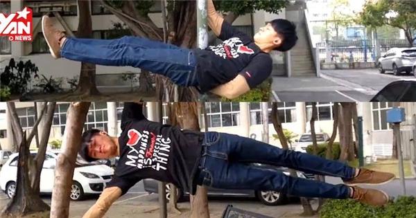 """Hot boy Trung Quốc tập gym giữa đường phố khiến bao thiếu nữ """"điêu đứng"""""""